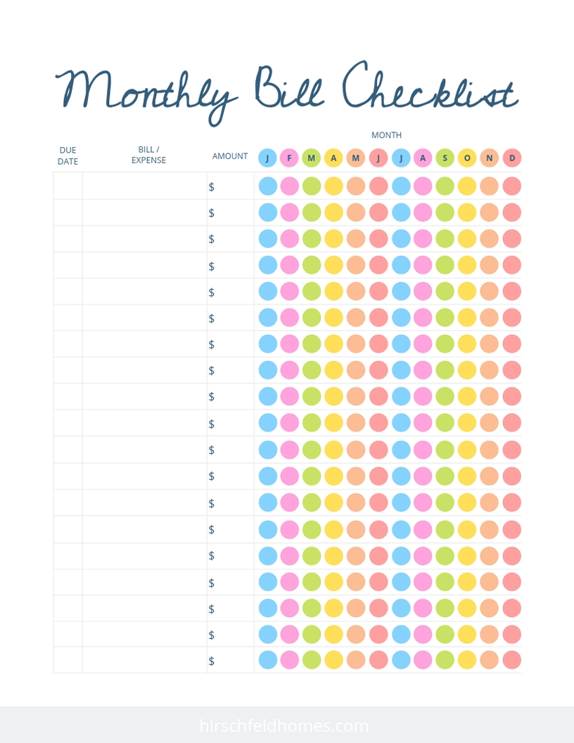 Collect Monthly Bills Due List Printable