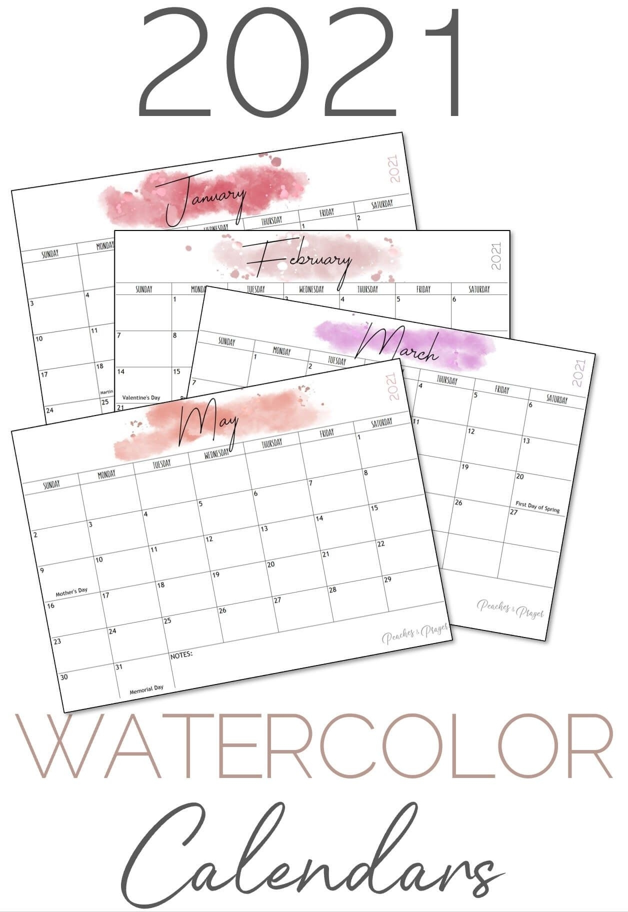 Collect Monthly Calendar With Writing Space Printable 2021