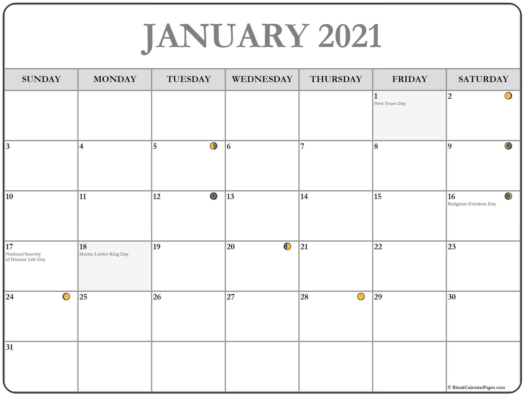 Collect Moon Phase Calendar 2021 Printable