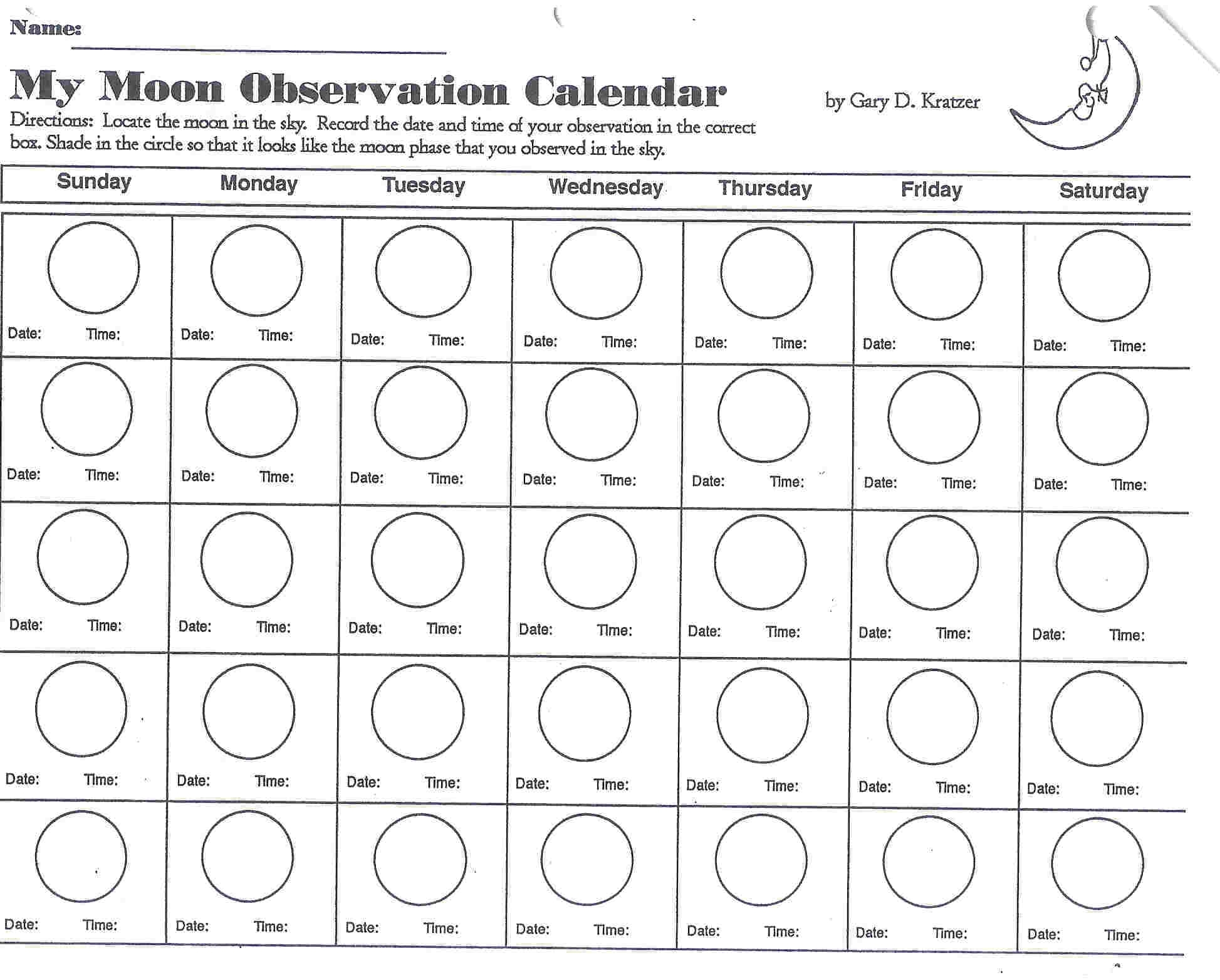 Collect Moon Phases Calendar For Kids