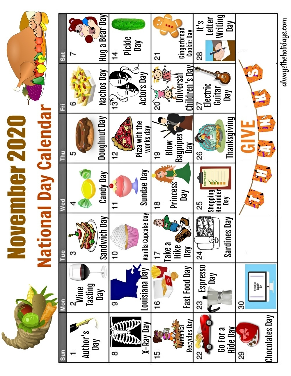 Collect National Day Calendar 2021 Free