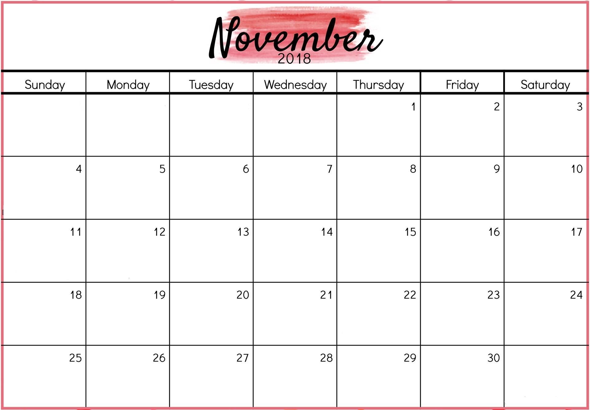 Collect November 2018 Calendar Printable Monthly