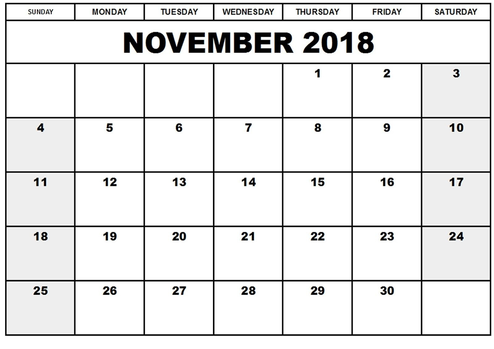 Collect November 2018 Calendar Printable Monthly
