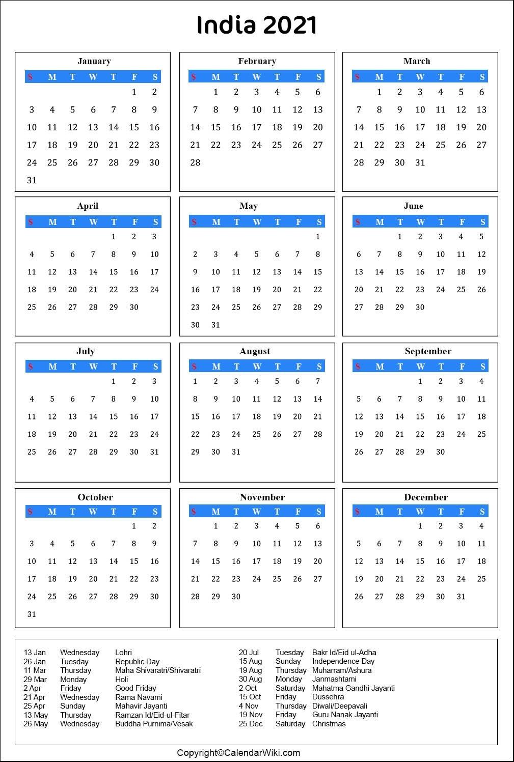 Collect November 2021 Calendar India