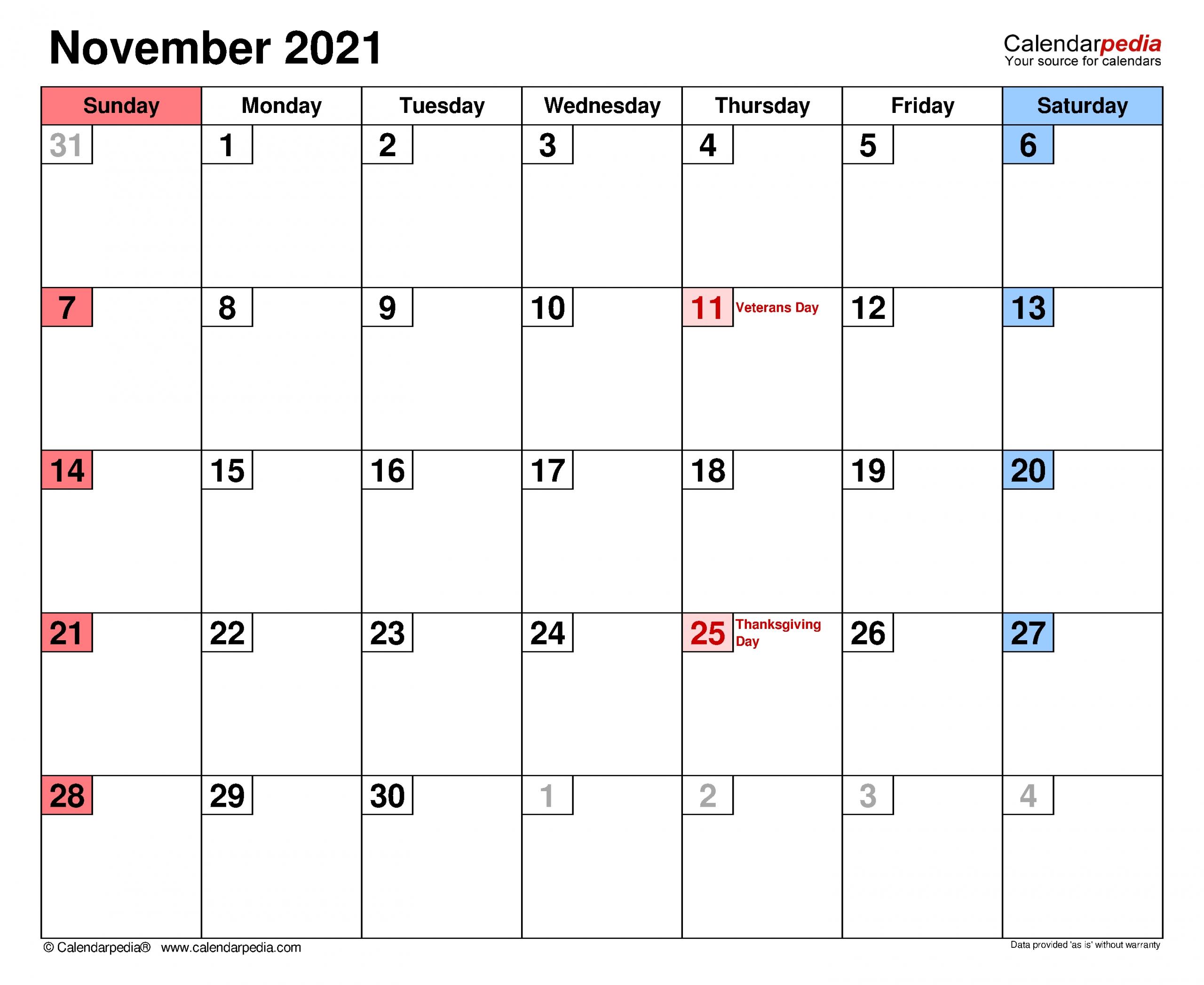 Collect November 2021 Calendar