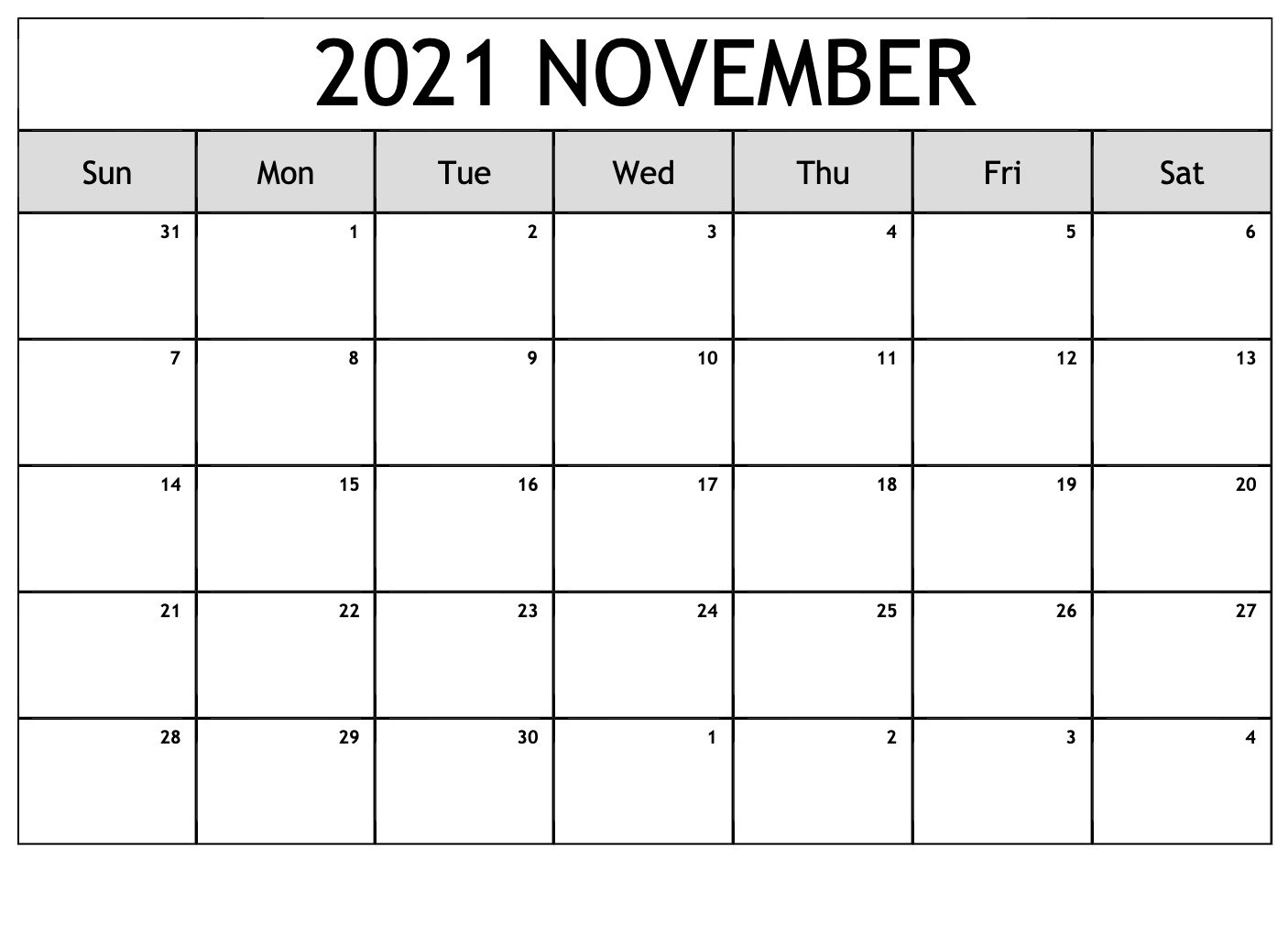 Collect November 2021 Calendar With Holidays