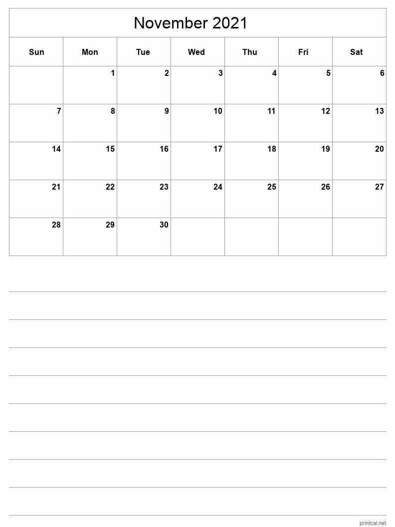 Collect November 2021 Calender Grid