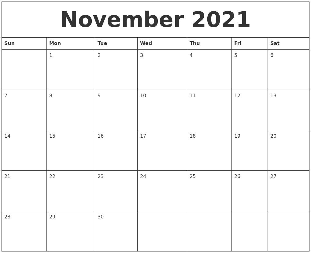 Collect November Calendar 2021 Printable Free