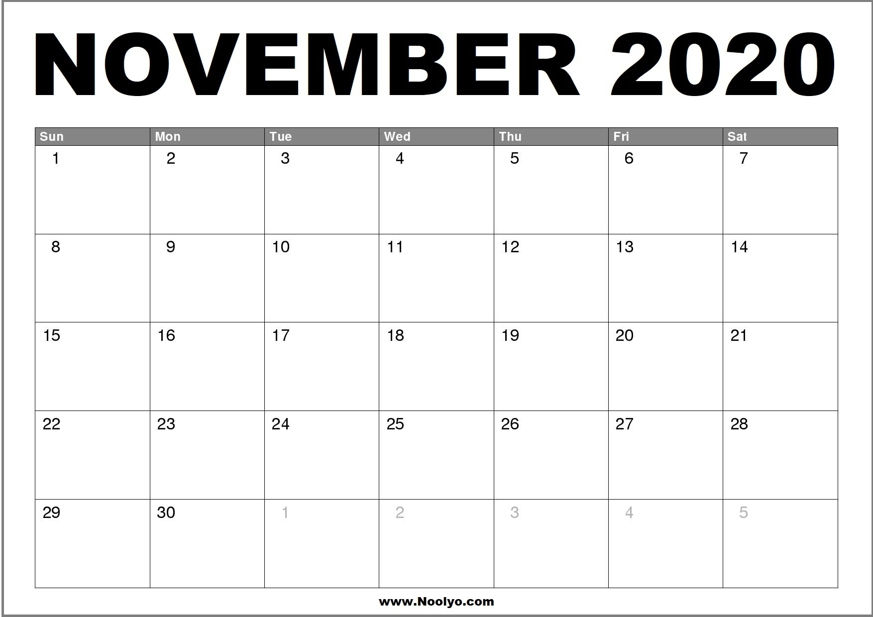 Collect November Calender Full Size
