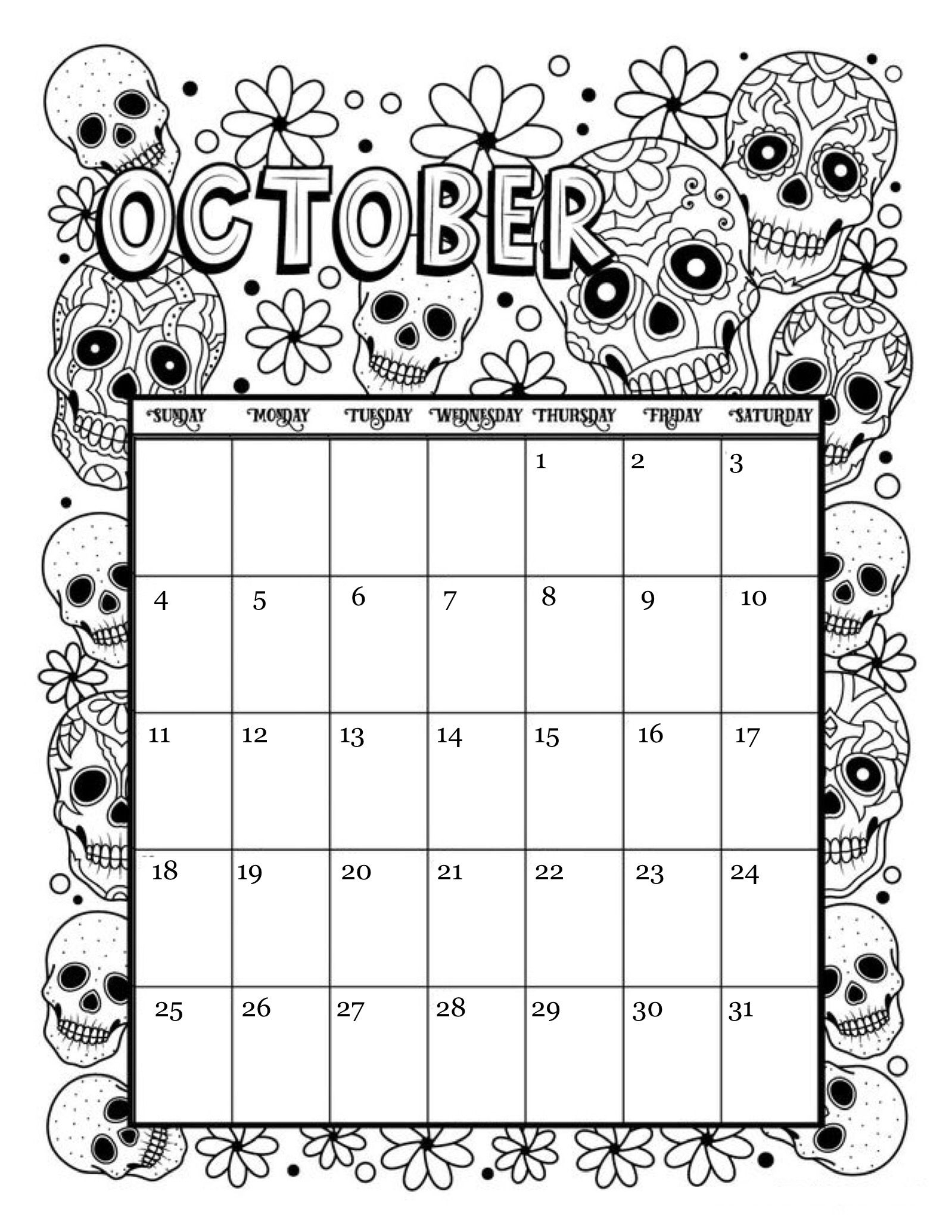 Collect October 2021 Calendar To Color And Print