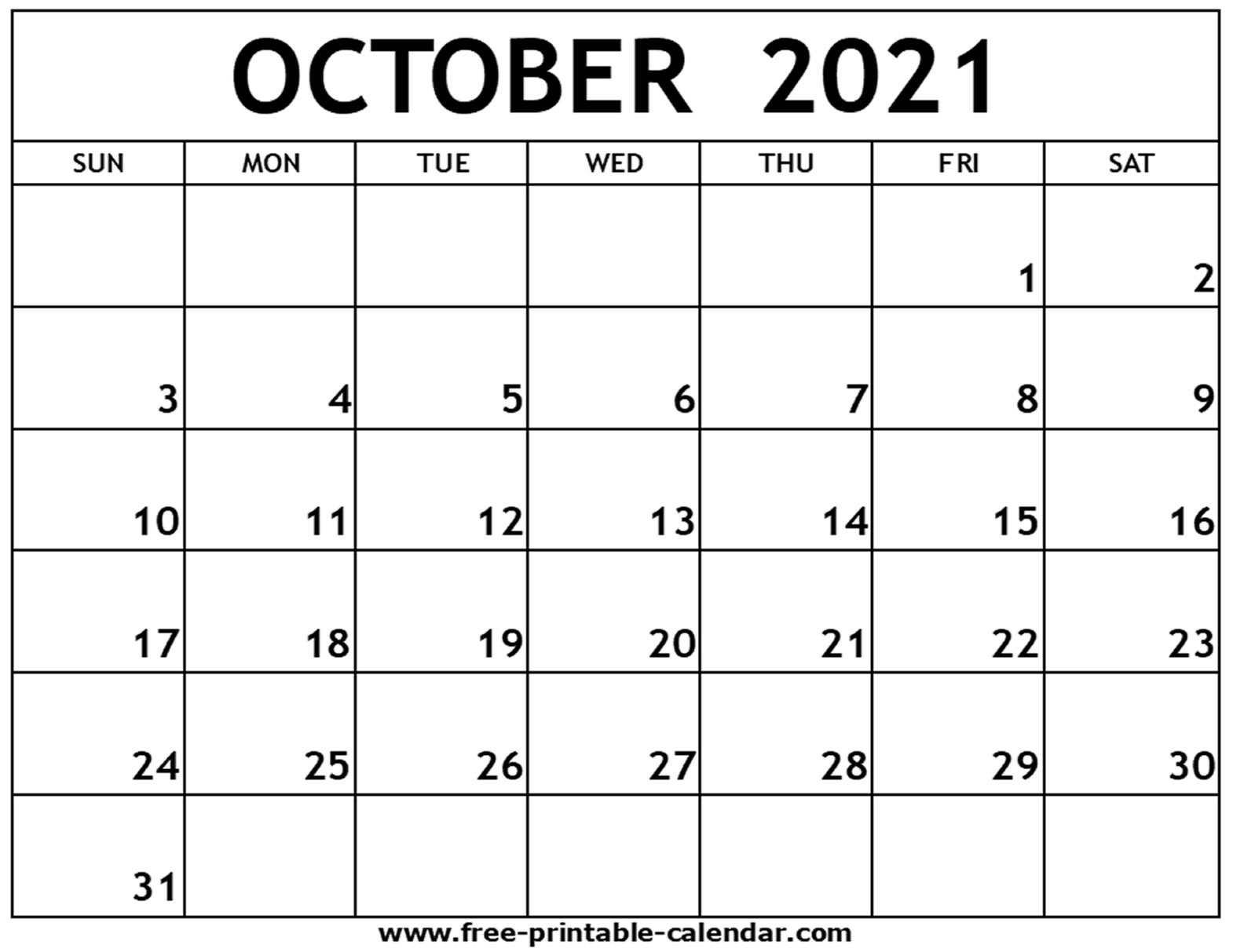 Collect October 2021 Calendar