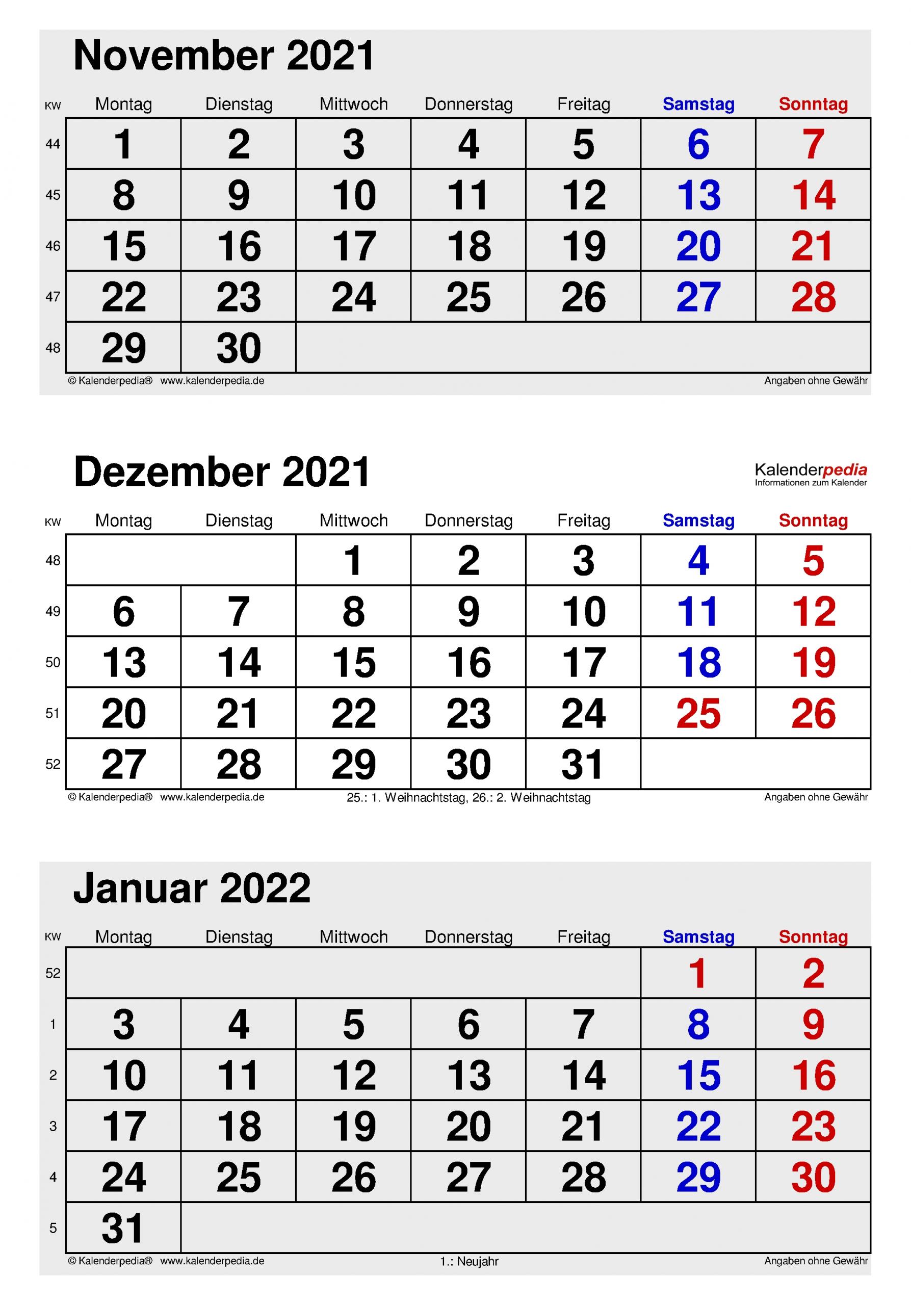 Collect Oktober - Dezember 2021 Kalender