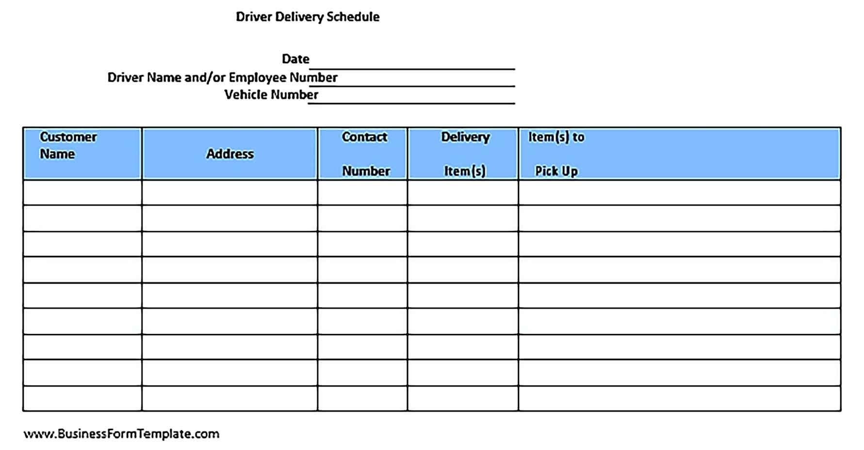 Collect Pick Up Schedule Template
