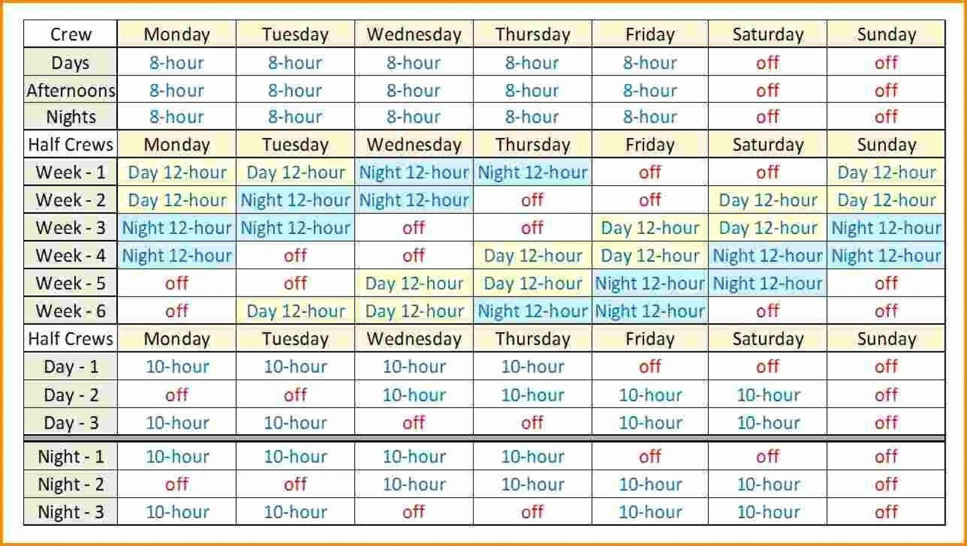 Collect Printable 12 Hour Shift Schedule