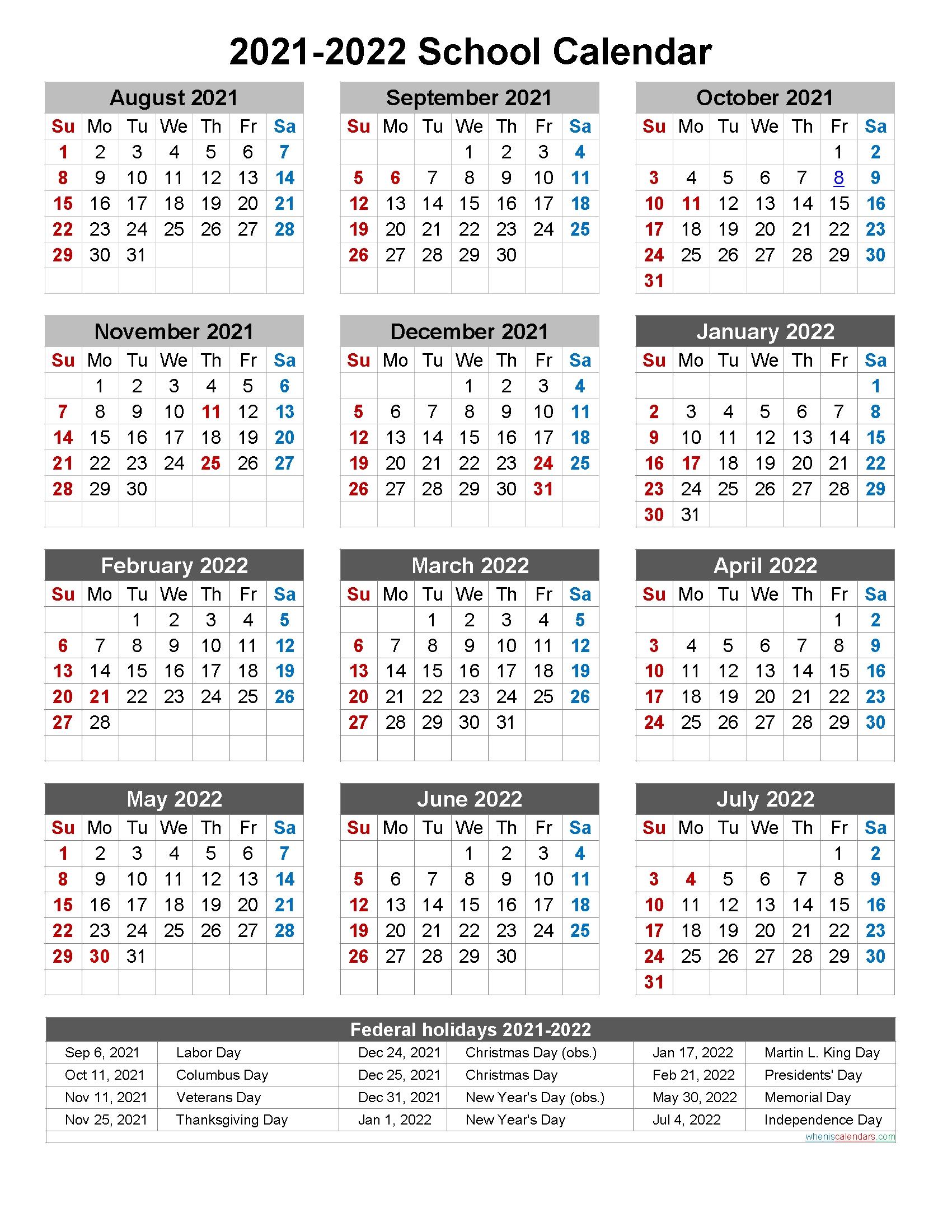 Collect Printable 2021 2022 School Calendar