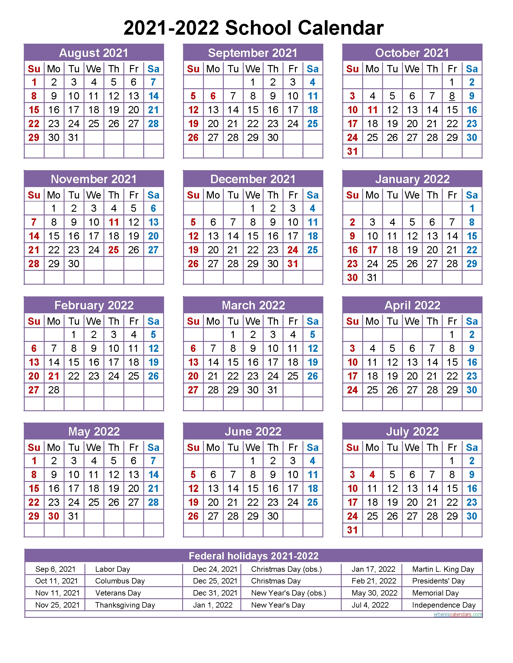 Collect Printable 2021 2022 School Calendar