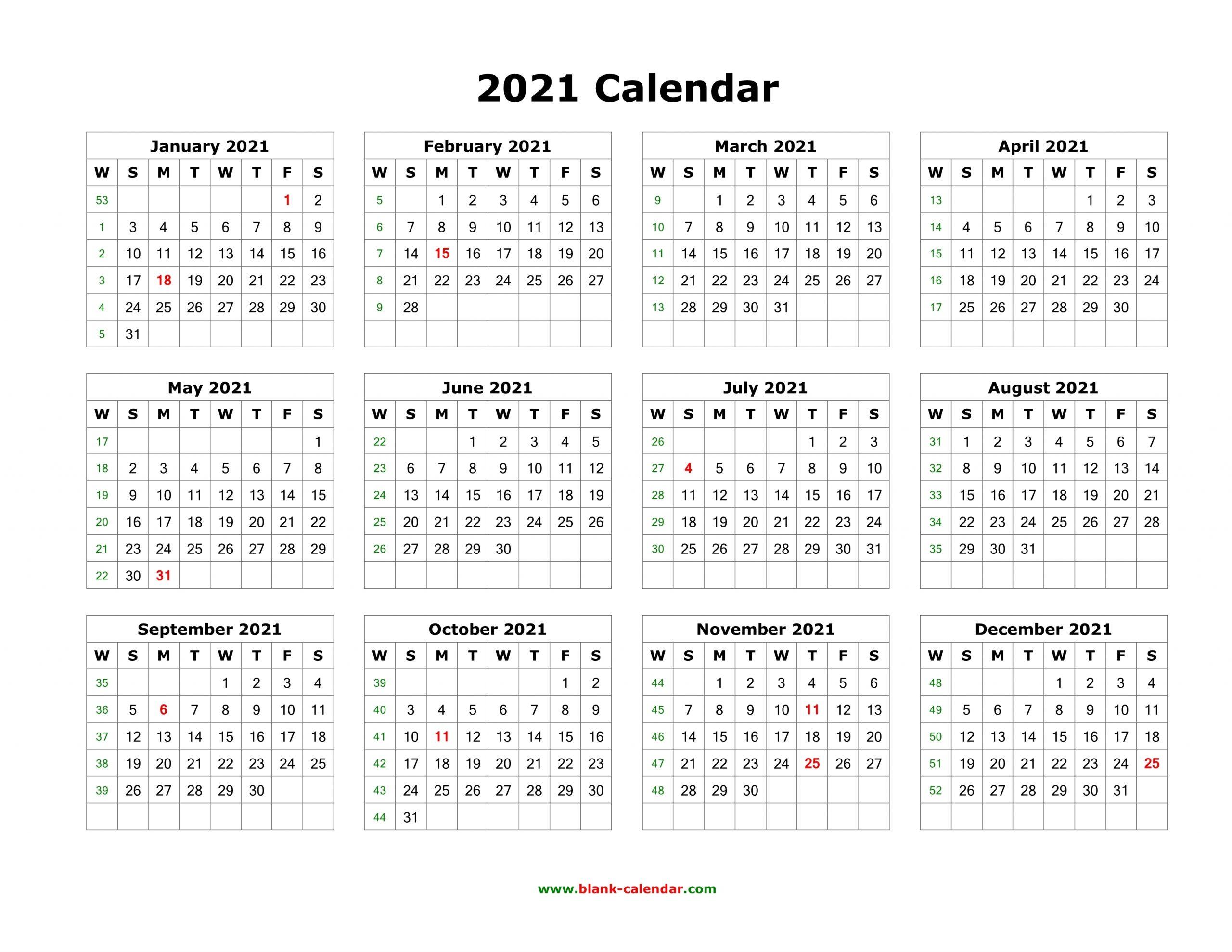 Collect Printable 2021 Calendar Landscape