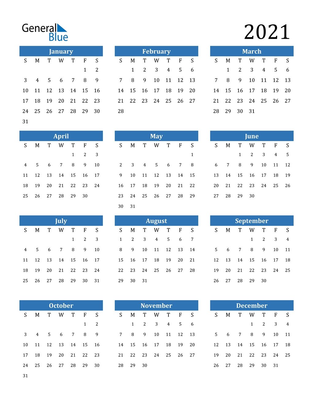 Collect Printable 2021 Calendar No Download