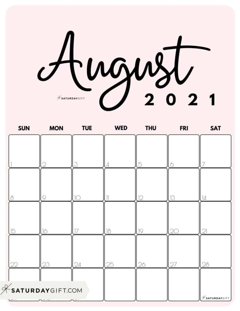 Collect Printable August 2021 Lined Calendar