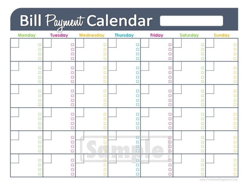 Collect Printable Bill Pay Calendar