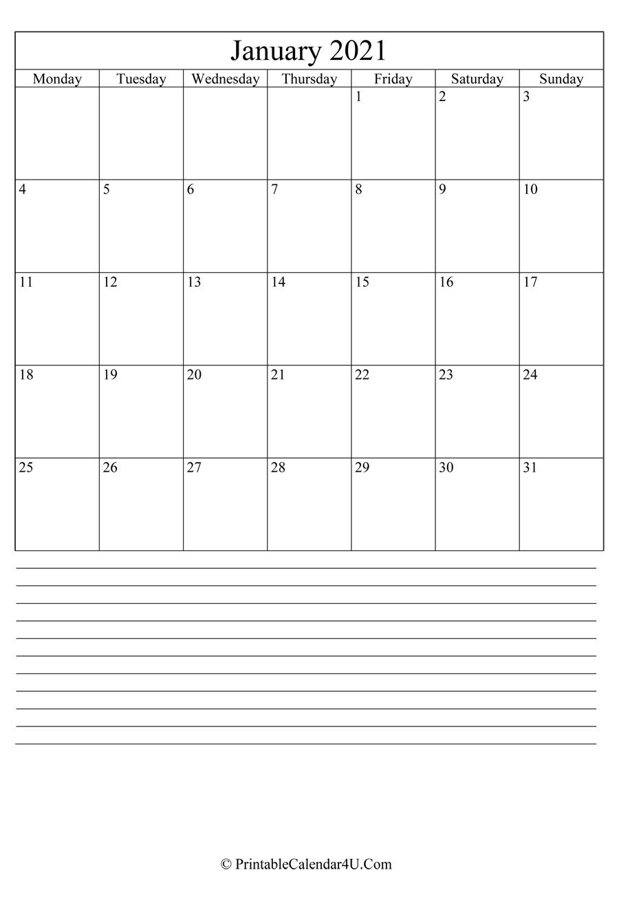 Collect Printable Calendar 2021 Monthly Big Boxes