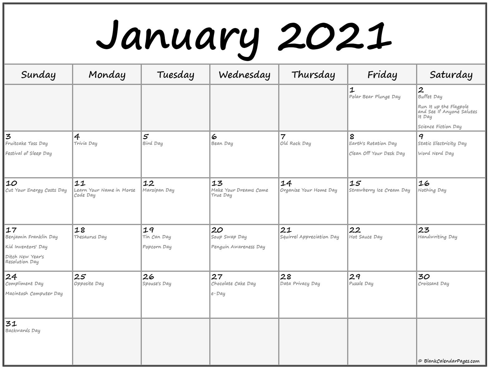 Collect Printable Calendar 2021 National Days List