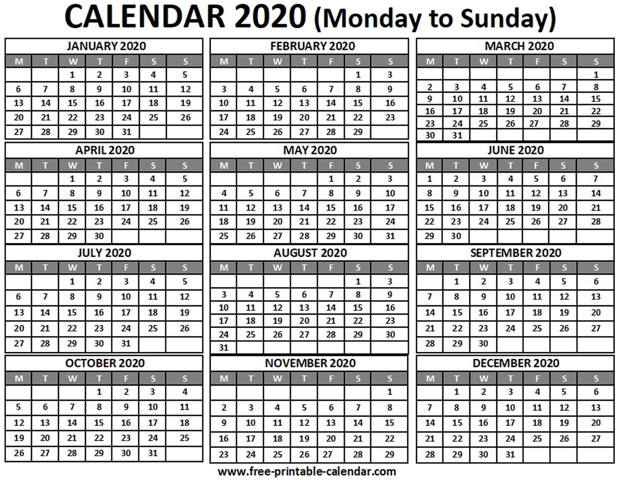 Collect Printable Calendar Monday Sunday