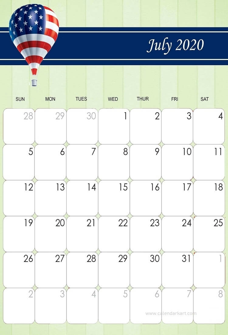 Collect Printable Calendars Fourth Of July Theme