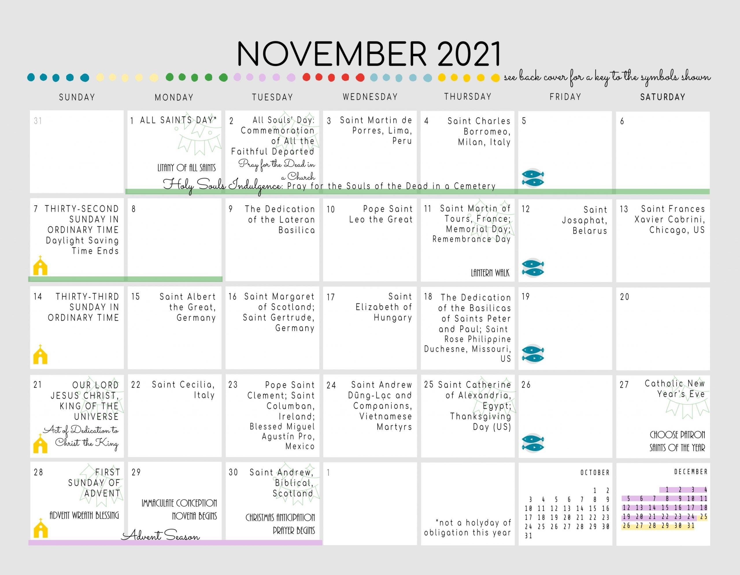 Collect Printable Liturgical Calendar 2021