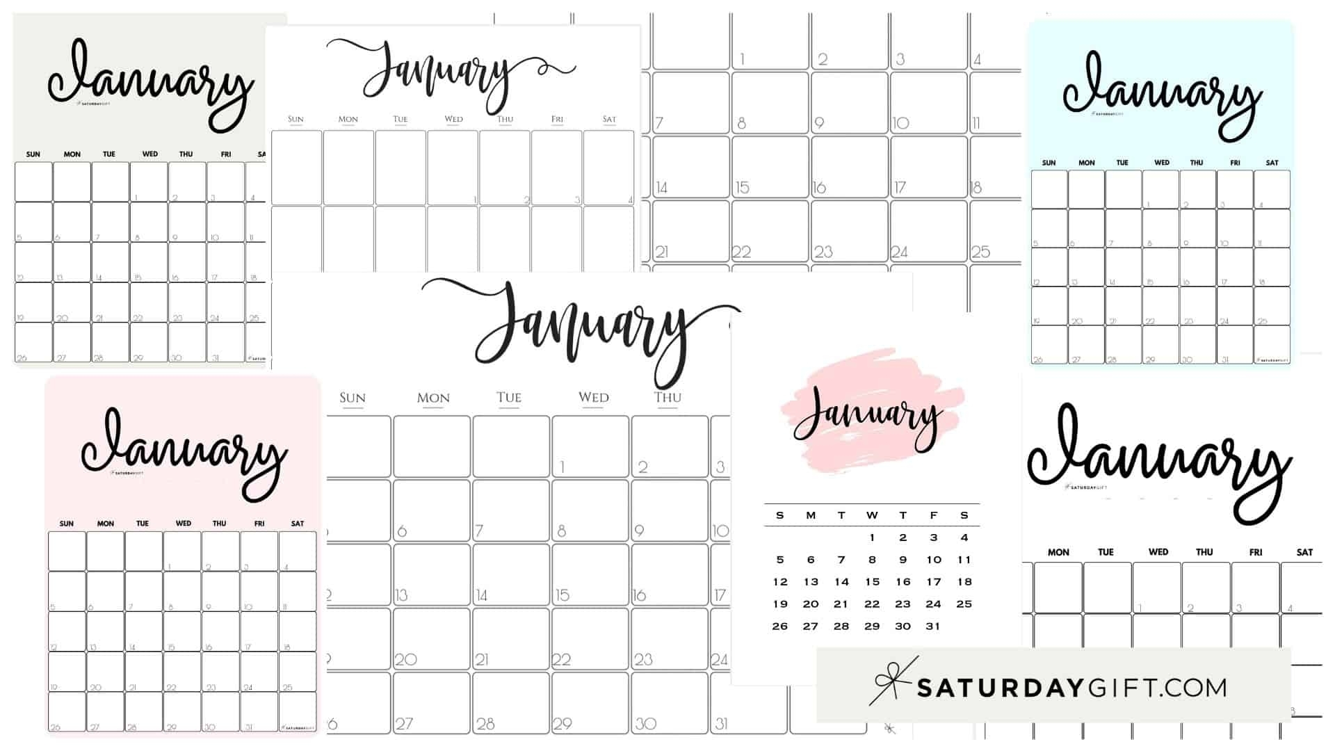 Collect Printable Monthly Calendar 2021