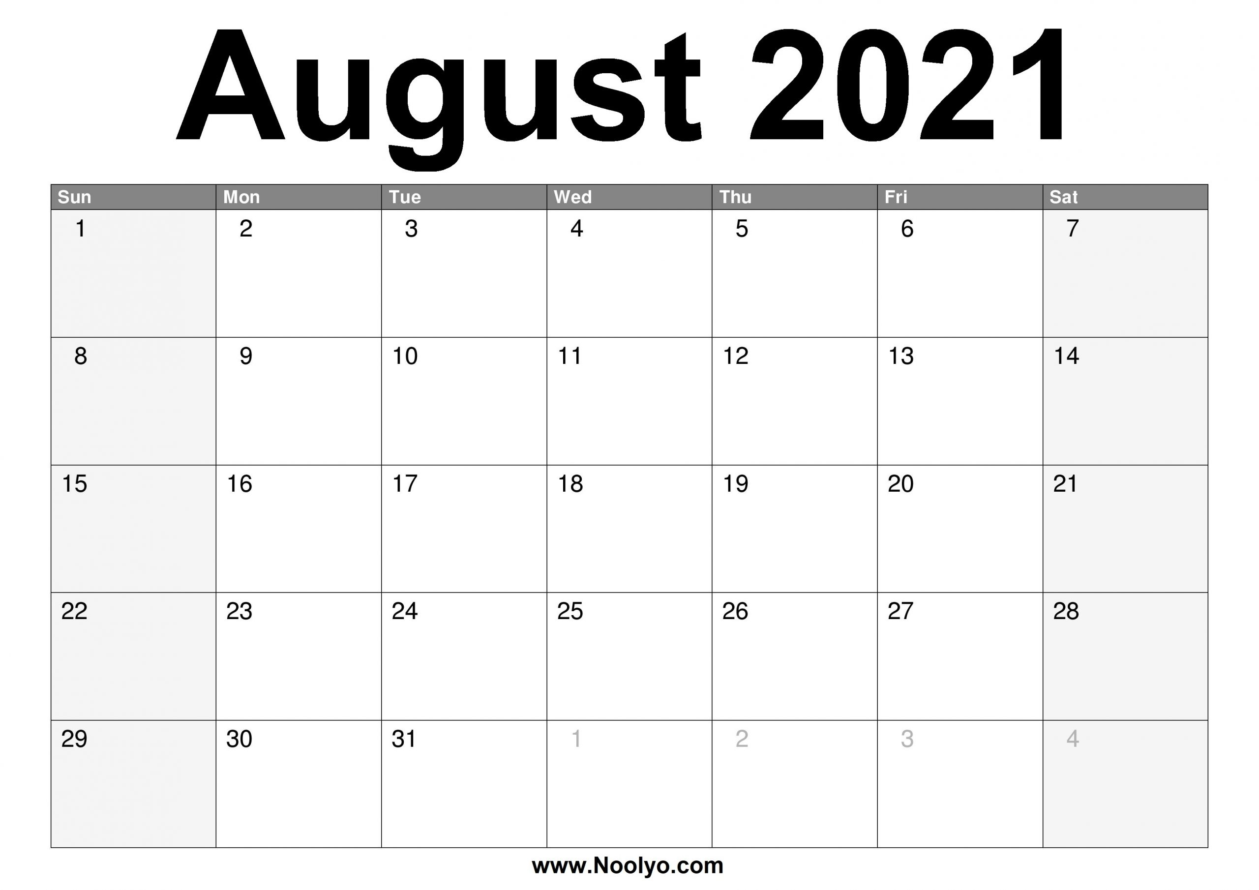 Collect Printable Monthly Calendar 2021 Free August
