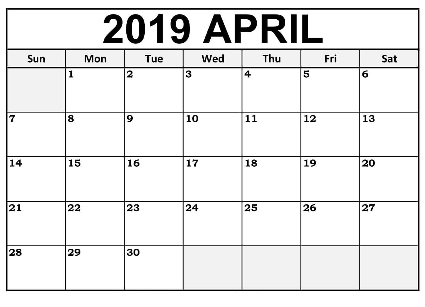 Collect Printable Monthly Calendar Large Boxes