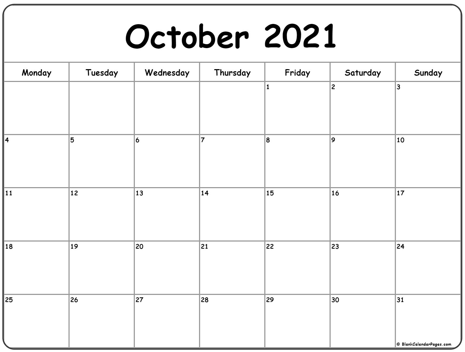 Collect Printable Monthly Calendar Oct 2021 Free