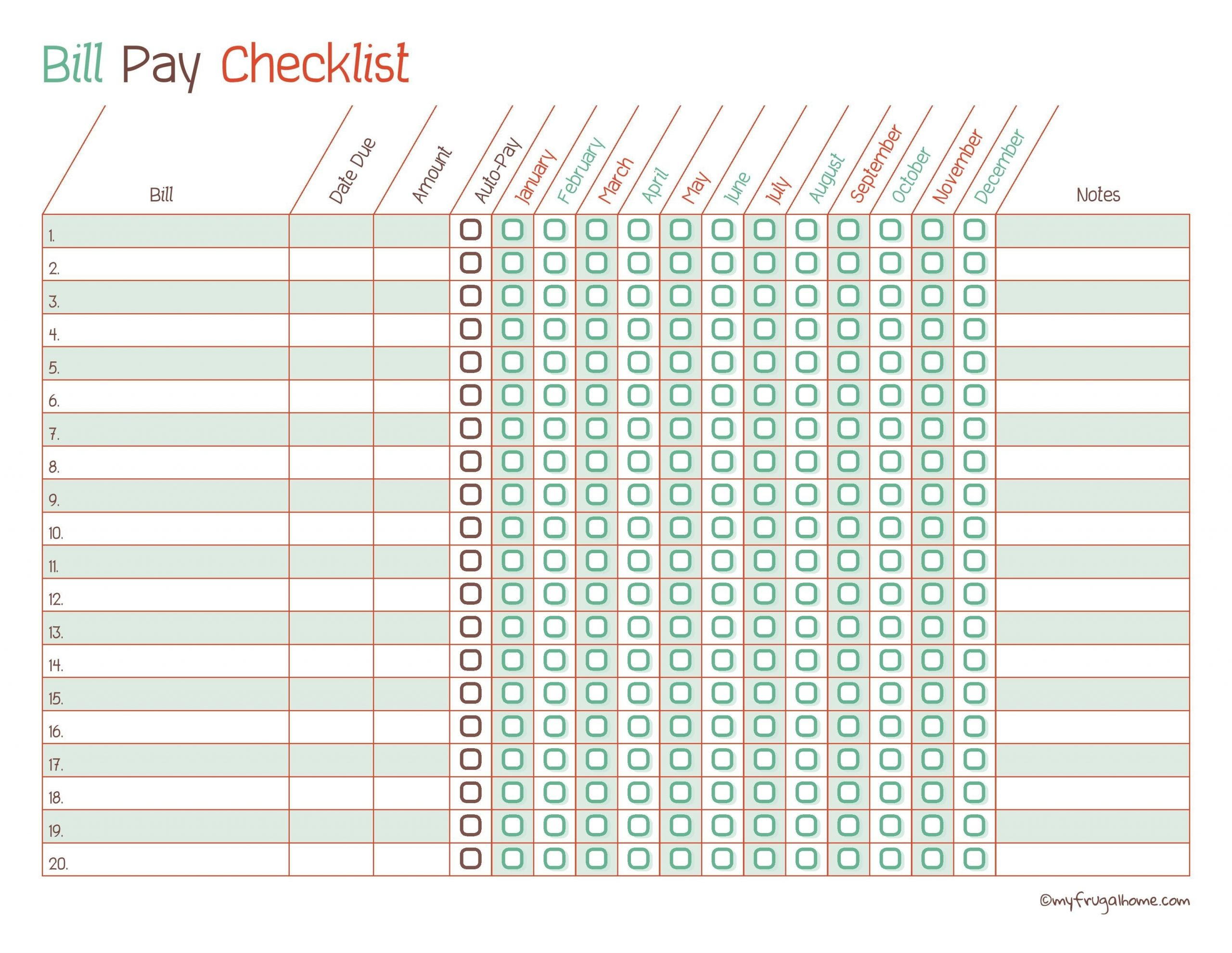 Collect Printable Monthly Home Bills List