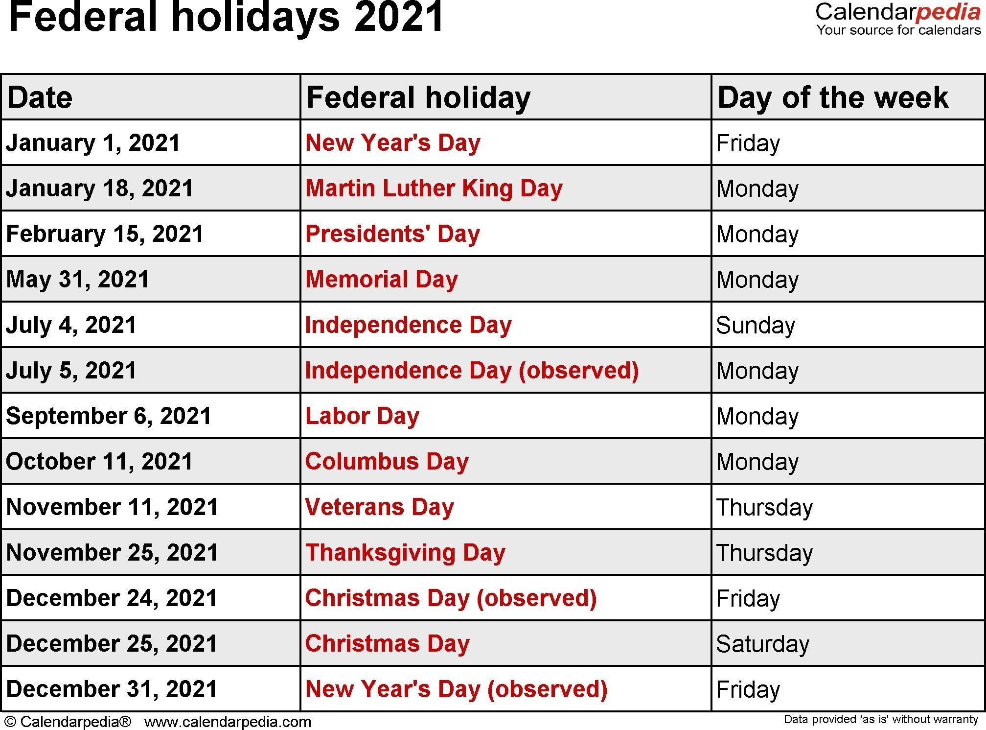 Collect Printable National Calendar 2021
