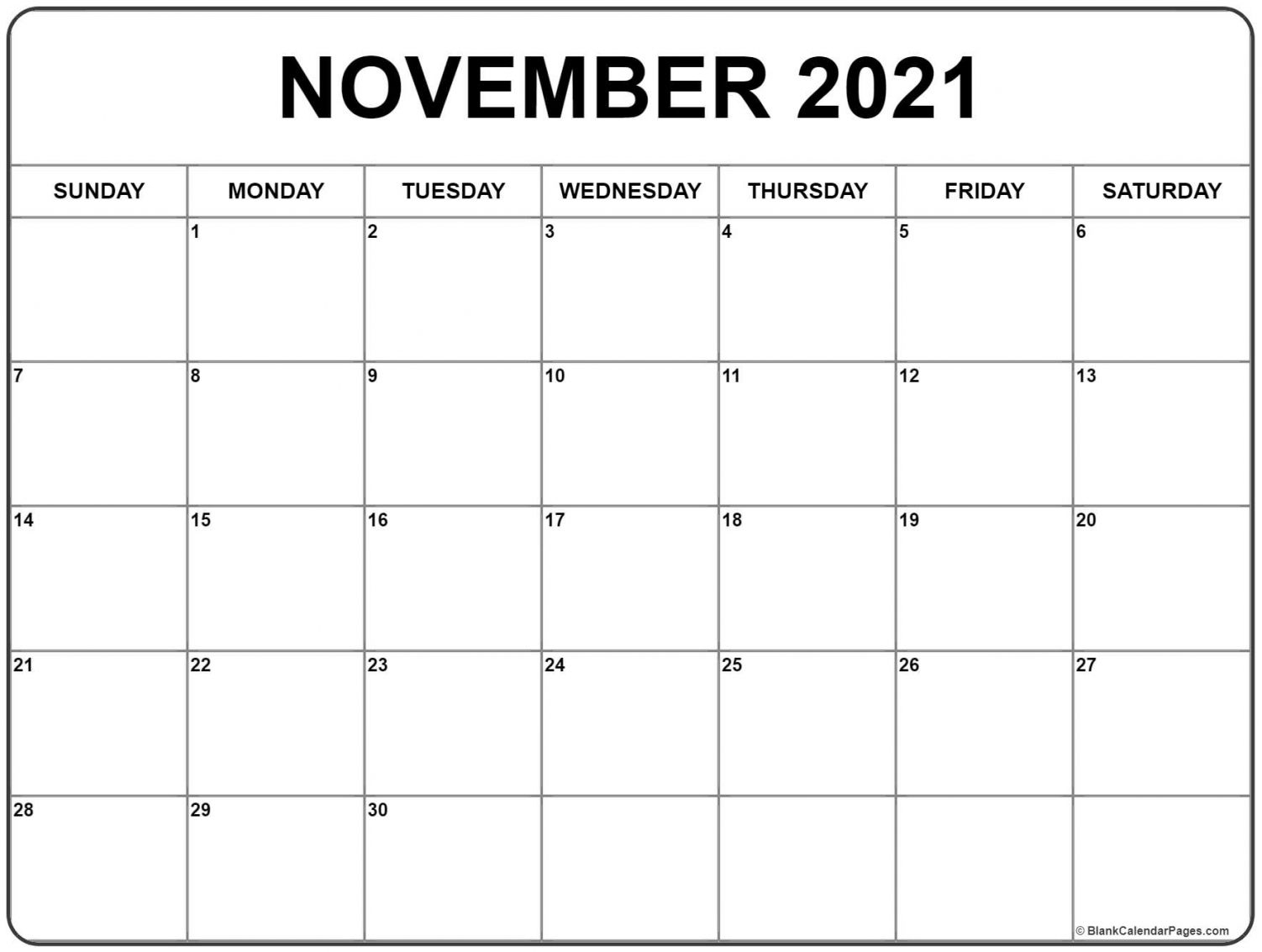 Collect Printable November 2021 Calendar
