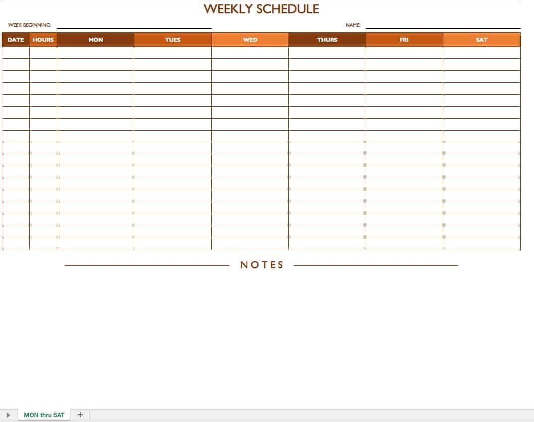 Collect Printable Weekly Work Schedule Templates That Start With Monday