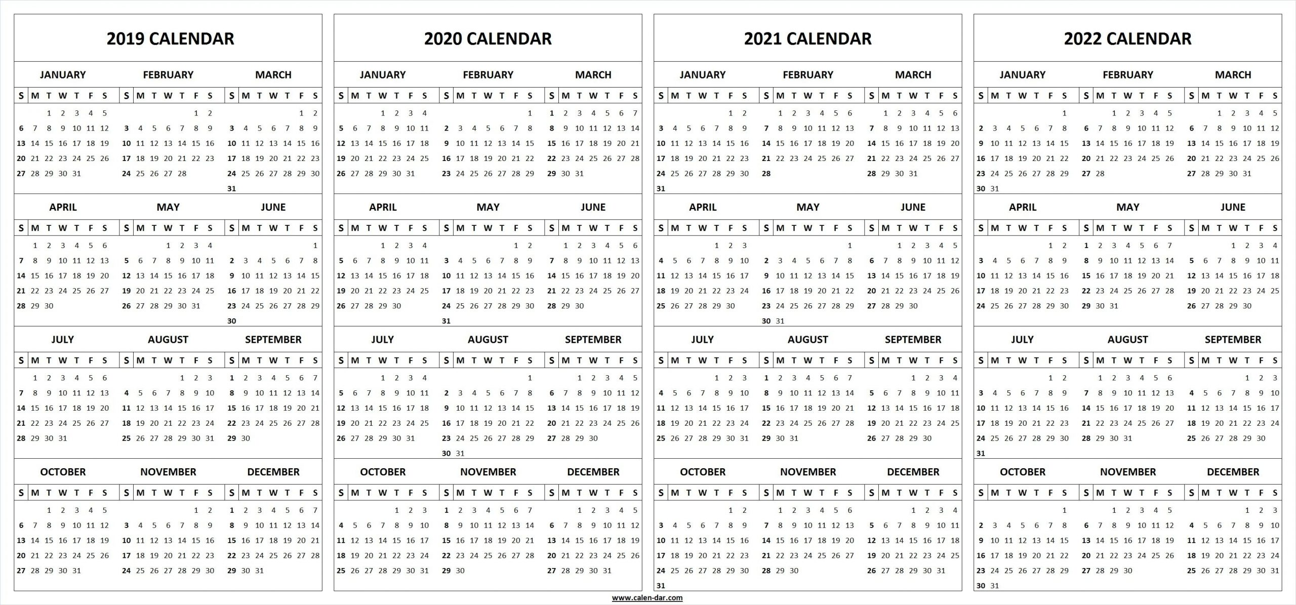 Collect Printable Yearly Calendars 2021 2022