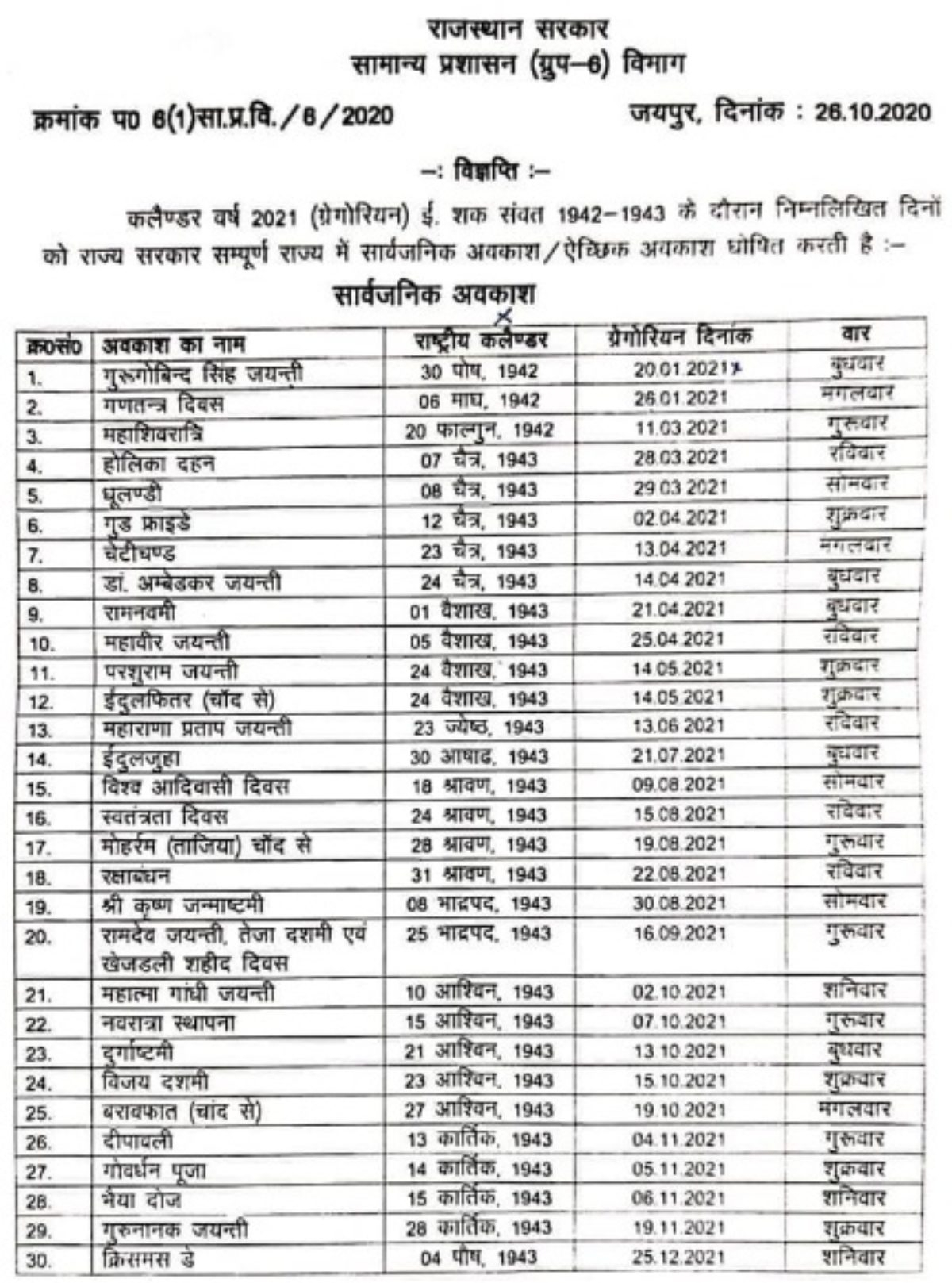 Collect Rajasthan Govt Calendar 2021 With Holidays