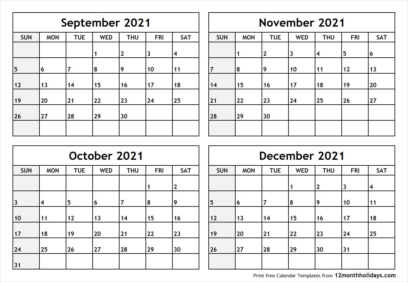 Collect September October November December 2021 Fill Out Calendar