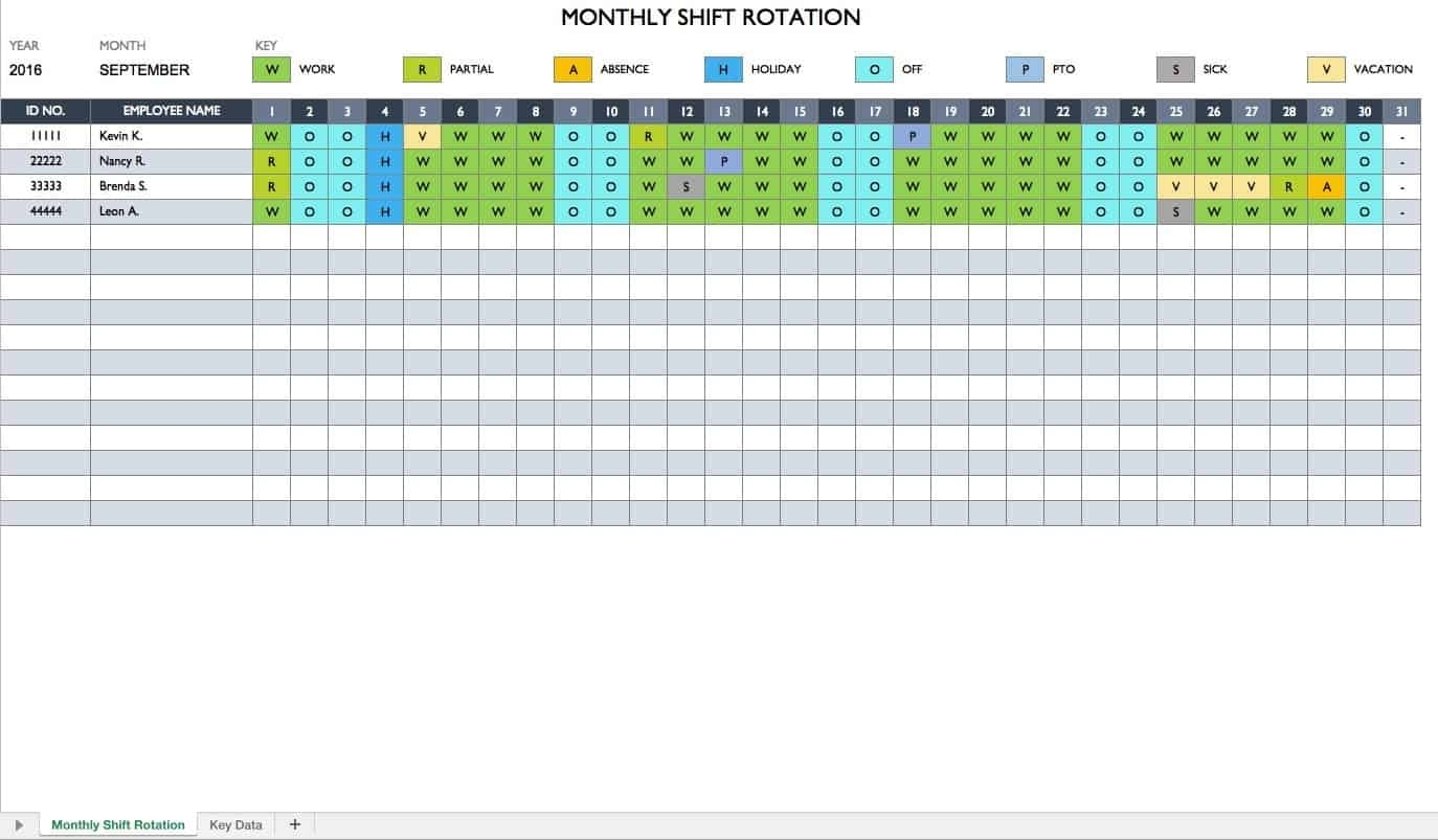 Collect Template For Annual 12 Hour Shift