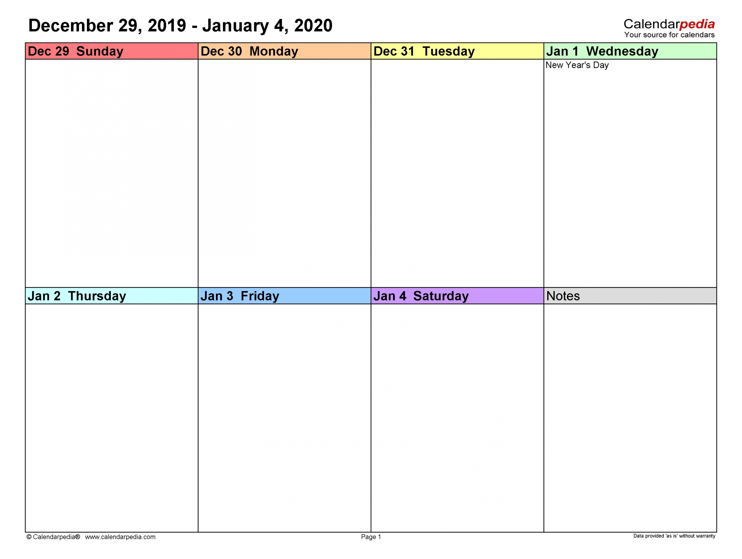 Collect Weekly Calendar Template Printable