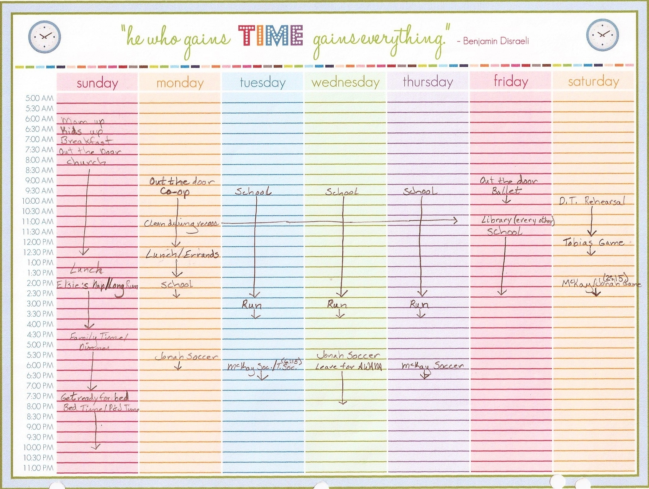Collect Weekly Calendar Timeslot