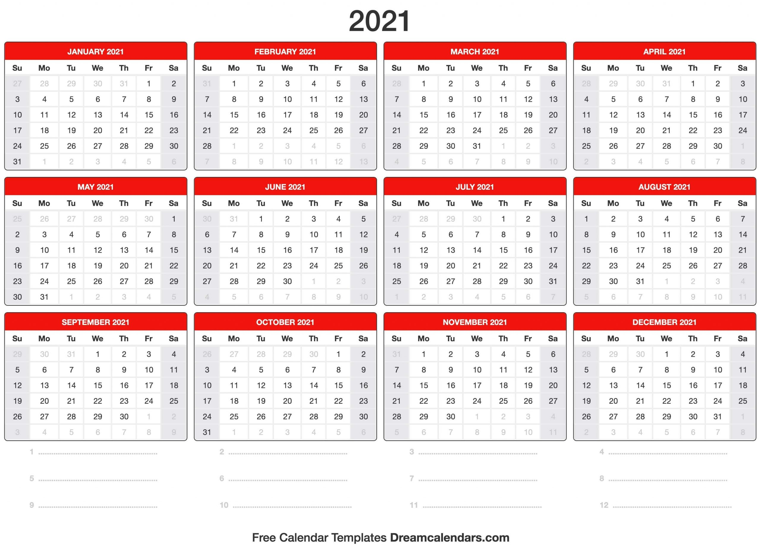 Collect Weekwise Calender 2021