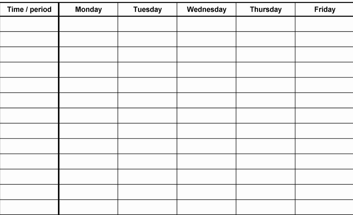 Collect Work Week Printable Calader Template Blank