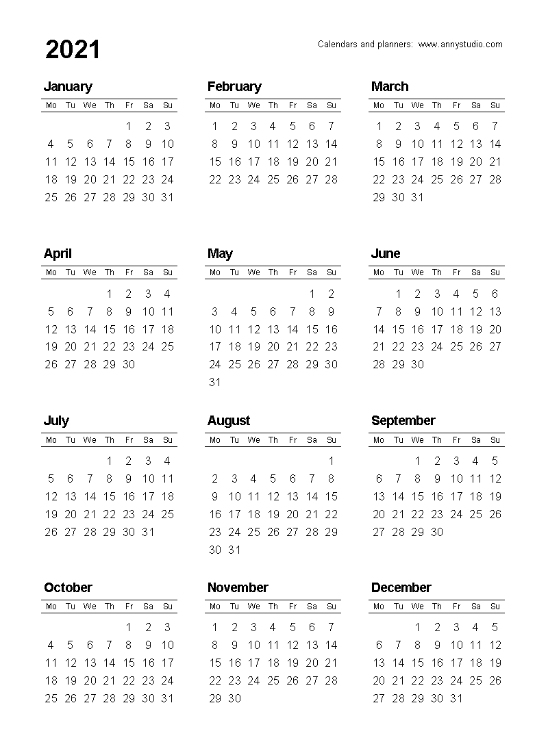 Collect Year At A Glance Calendar 2021 Free Printable