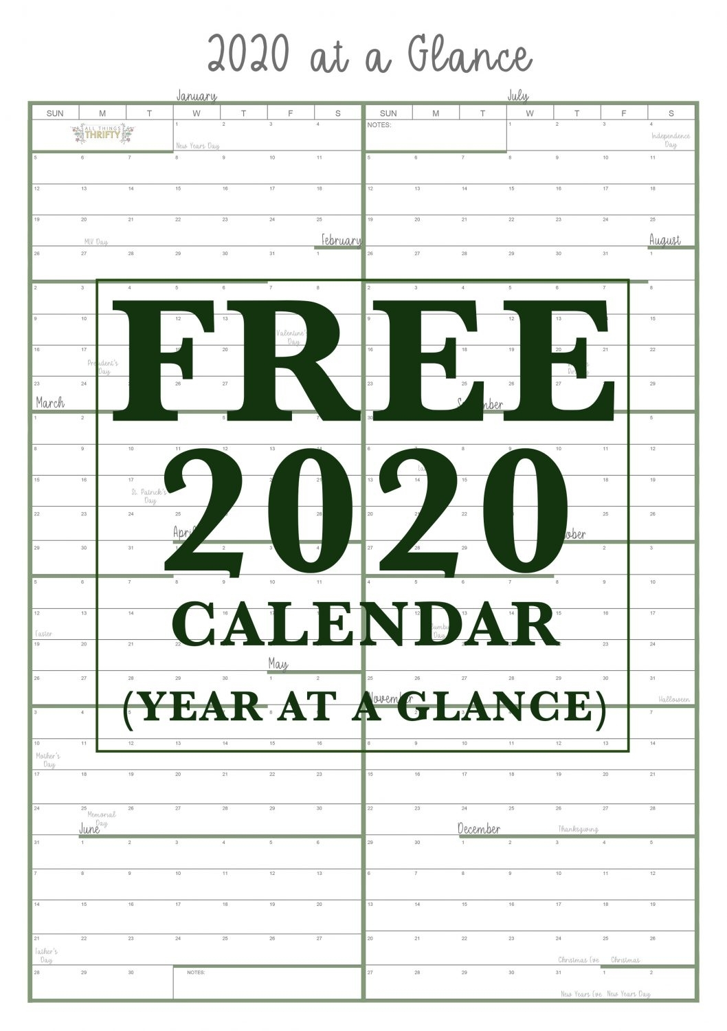 Collect Year At A Glance School Calendar Printable