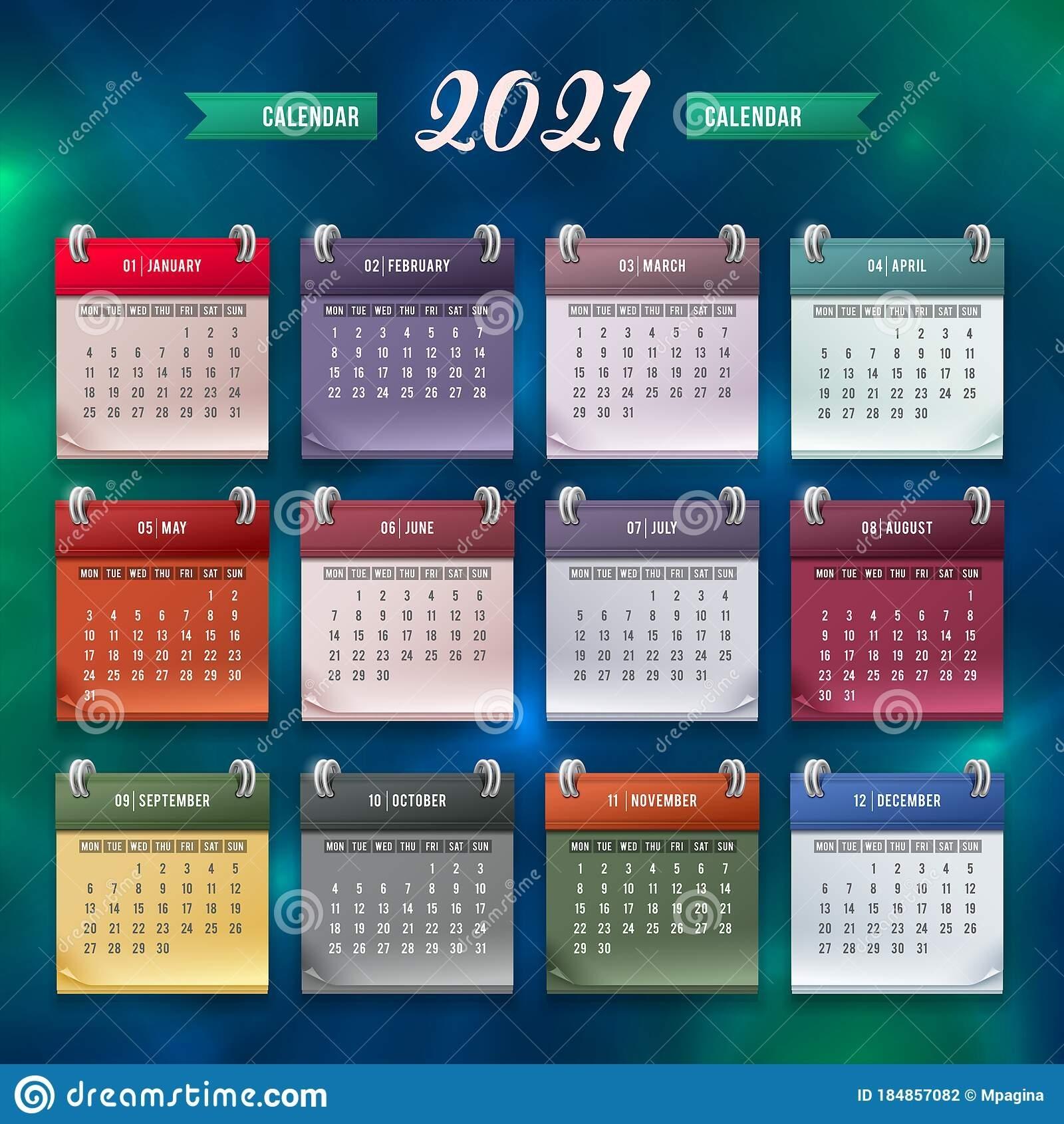 Get 12 Month Calendar Template2021