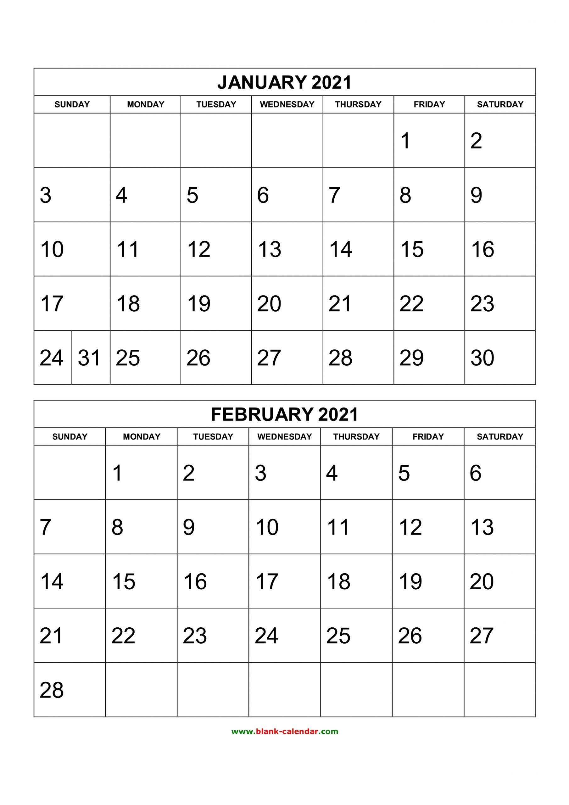 Get 2 Month Printable Calendar 2021