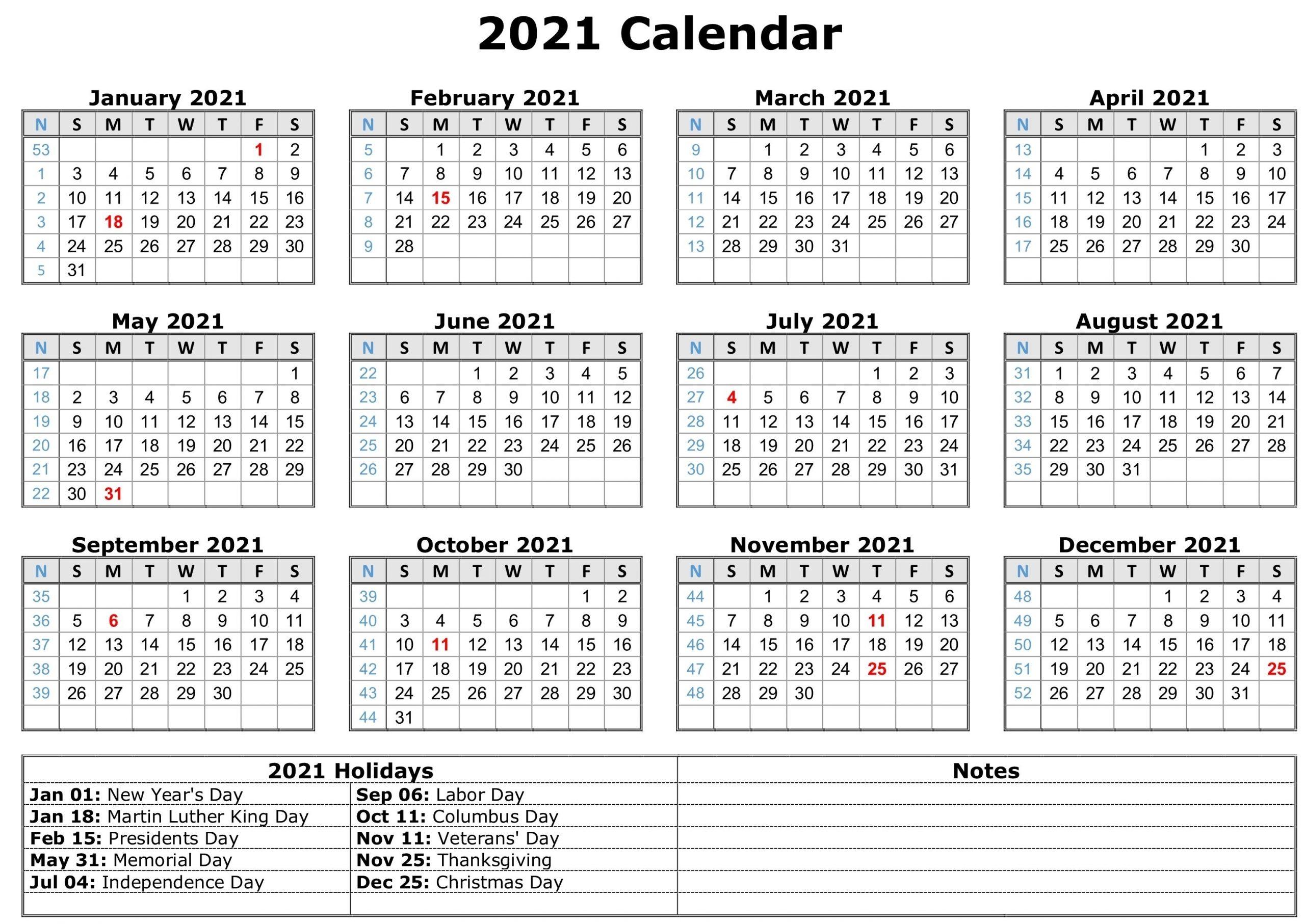 Get 2021 12 Month Calendar Template
